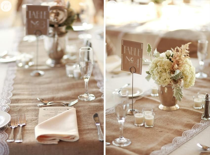 Burlap and lace wedding is identical with the concept of natural
