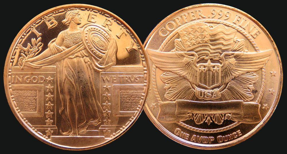 1 oz avdp ounce 999 fine copper liberty round specimen
