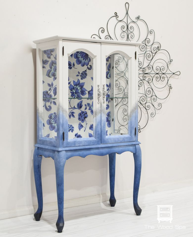 Little Cabinet with Blue Floral Back – The Wood Spa by Pat Rios, #Blue #Cabinet #Floral #Pat #Rios #Spa #wood