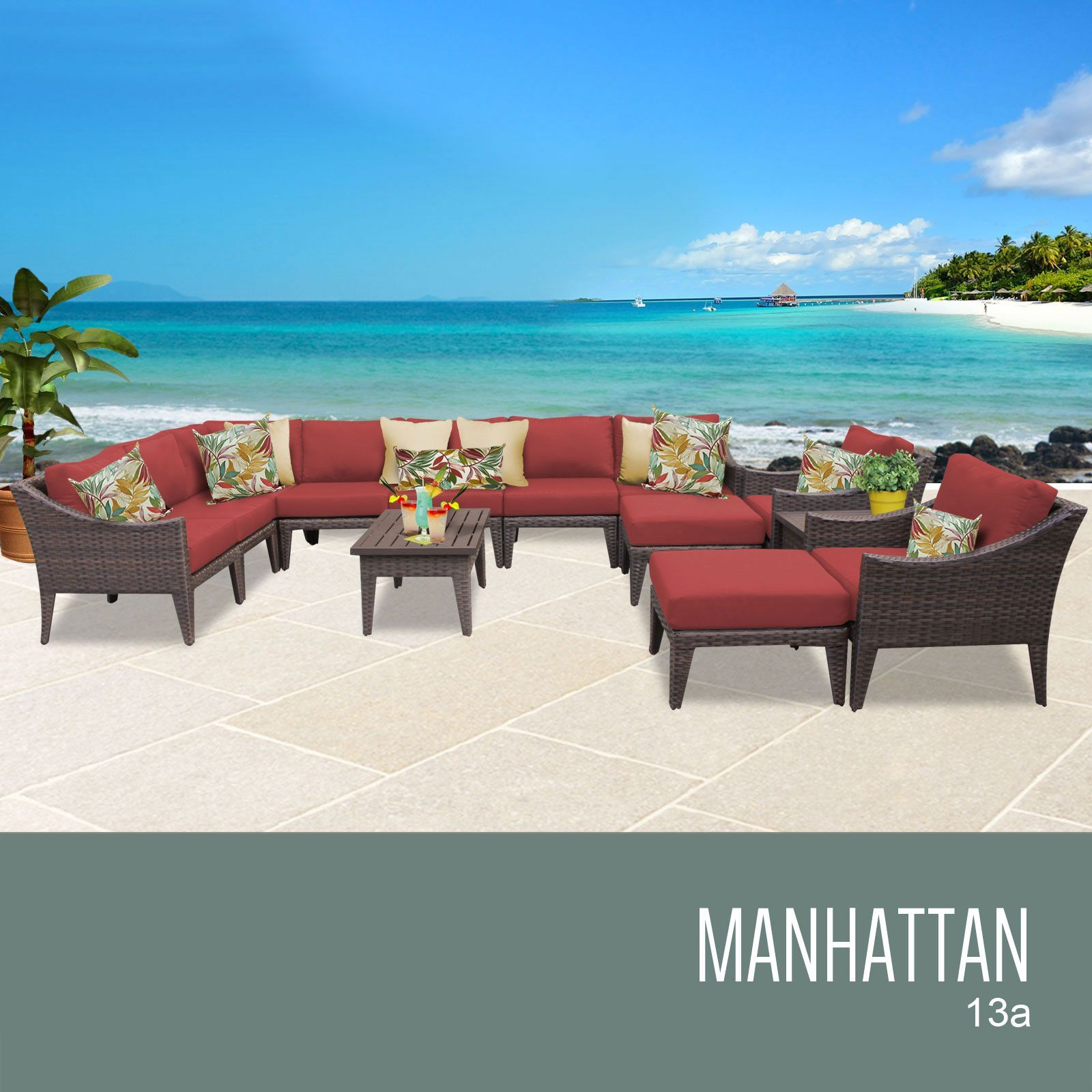 TKC MANHATTAN 13 Piece Outdoor Wicker Patio Furniture Set 13a, Terracotta