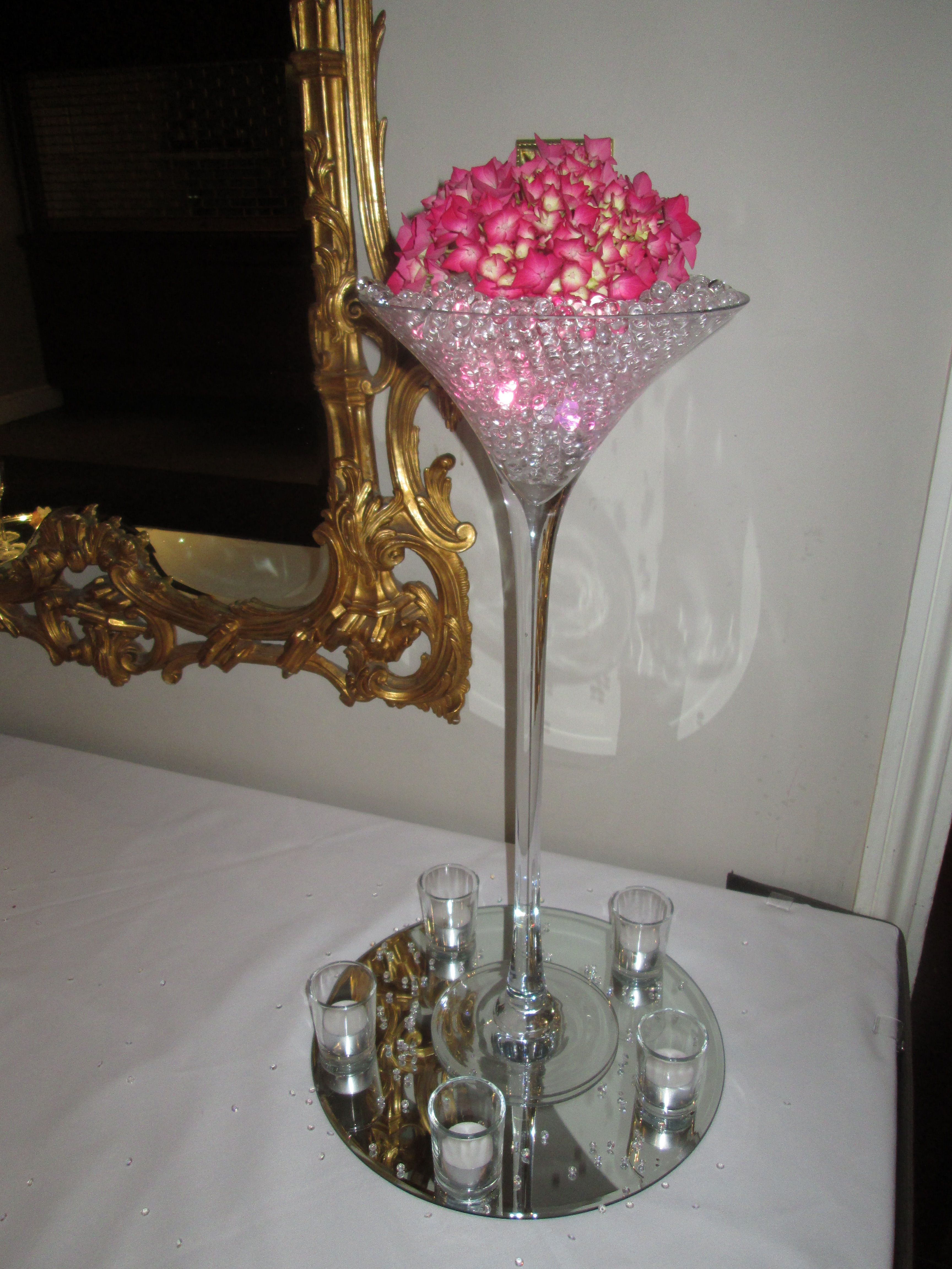 Martini vase with lit gel beads and hydrangea top