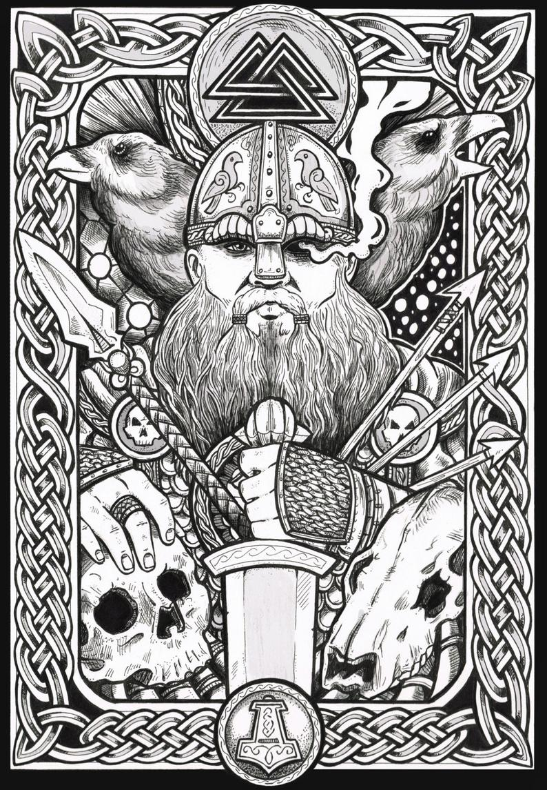 Viking Art Odin Fantasy Art Print Etsy In 2020 Viking Art Celtic Art Art