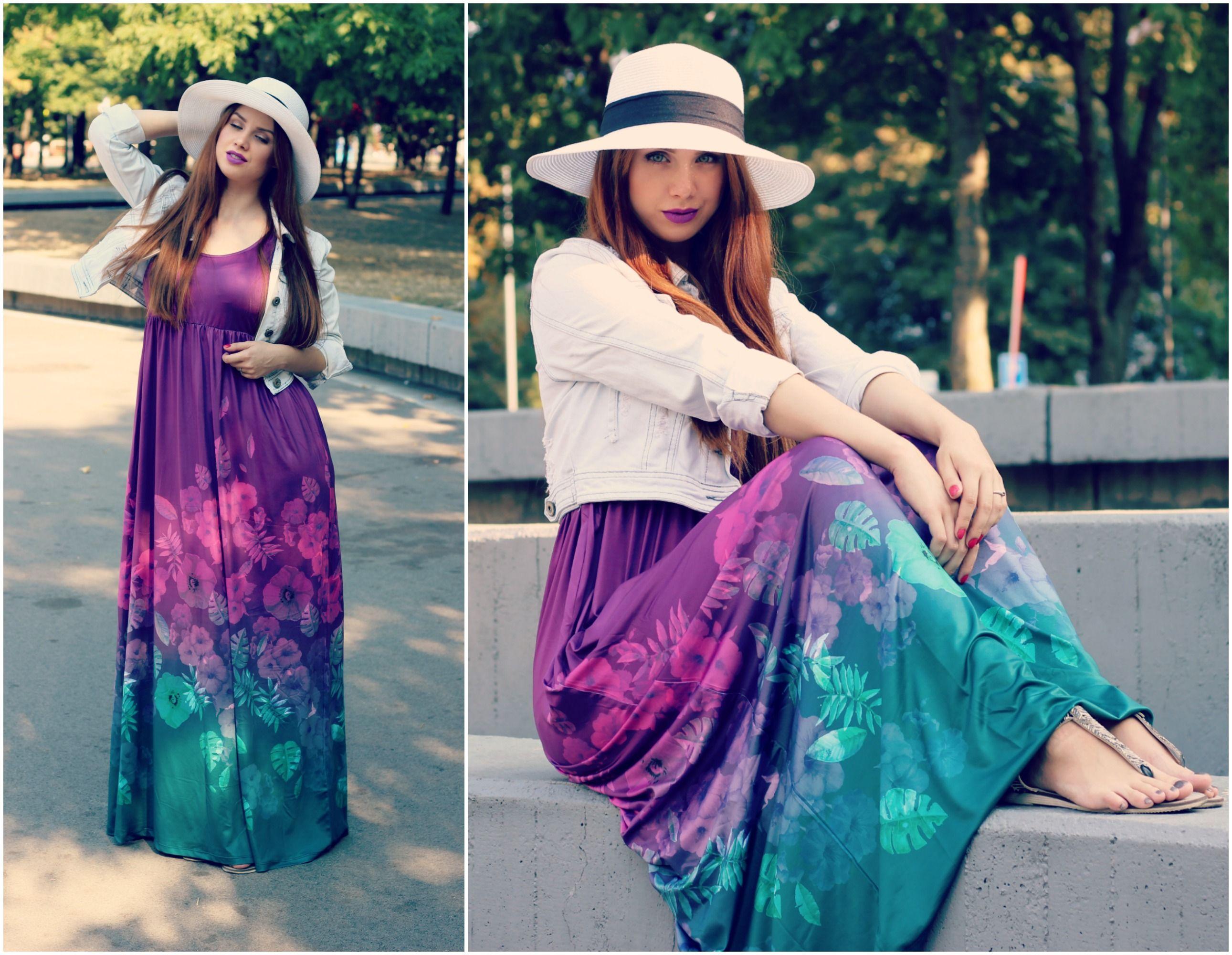 summer curvy maxi dress long hat violet green