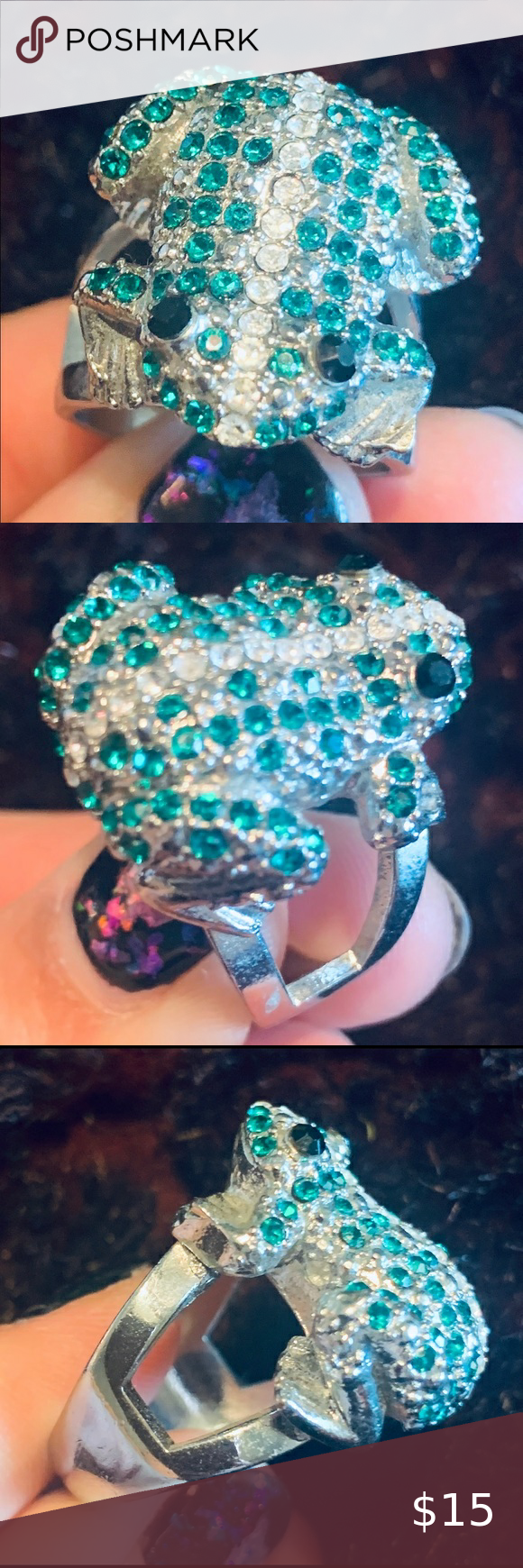 Check out this listing I just found on Poshmark: Green frog 🐸 ring silver nickel free size 9. #shopmycloset #poshmark #shopping #style #pinitforlater #Jewelry