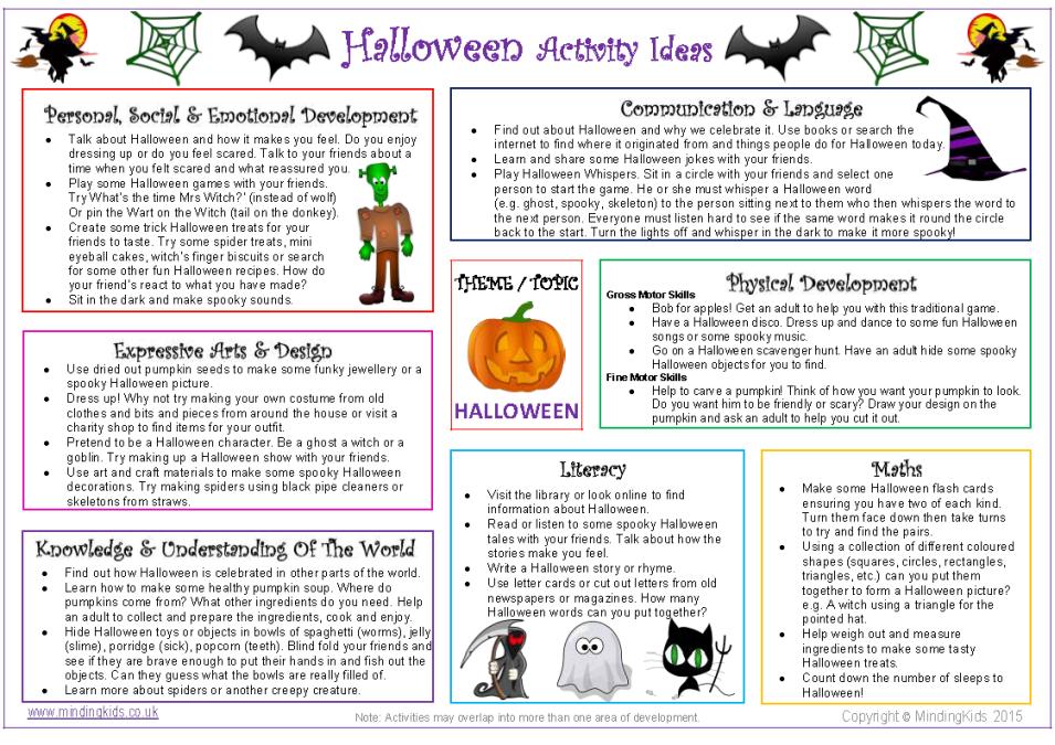 Halloween Activity Ideas Sheet Halloween activities