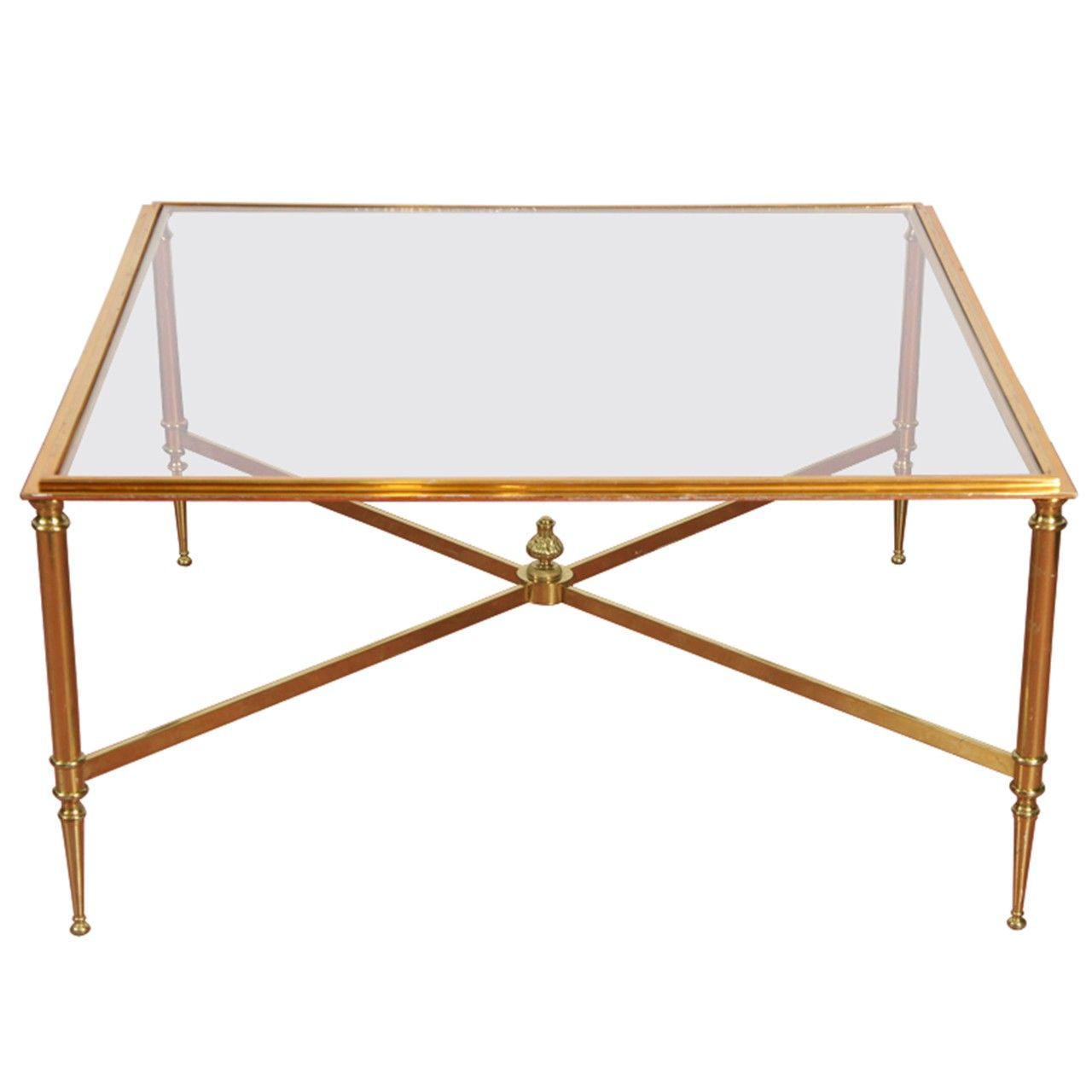 Directoire-Style Brass And Glass Coffee Table