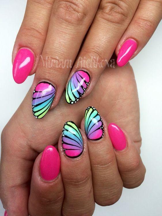 Toca La Imagen Y Aprende A Pintar Las Uñas De Una Manera Muy Bonita Y Fácil Paso A Paso Curso Gratis Chrome Nails Butterfly Nail Art Pink Nails