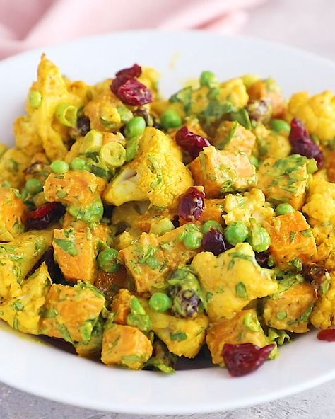Curry Roasted Cauliflower Sweet Potato Salad (whol