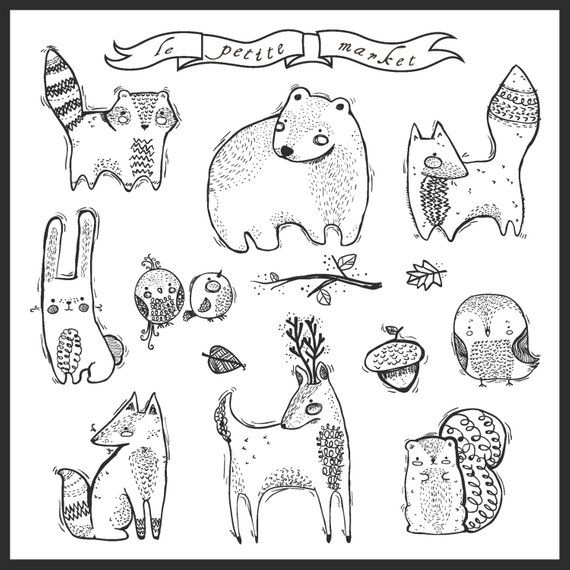 Cute Hand Drawn Digital Forest Creatures Clipart Doodly Forest