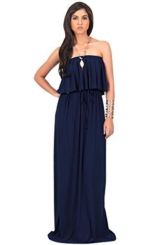 81588b848644 KOH KOH Plus Size Womens Long Evening Summer Sexy Flowy Beach Gown Casual  Maxi Dress Color Navy Blue Size 4X Large 4XL 2628     Want to know more
