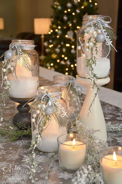 White Christmas Table Center Piece Fancy Friday Blog Hop Christmas Centerpieces Christmas Table Decorations Winter Table Decorations