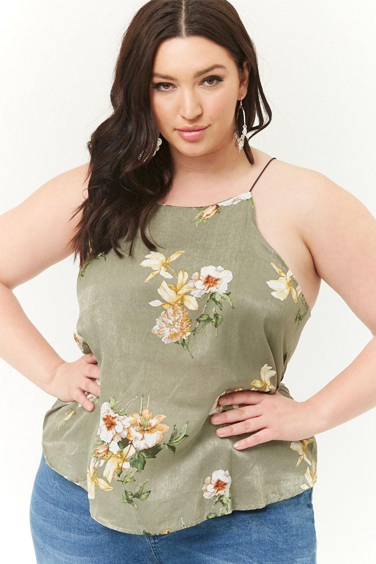 5ea62ce94c6 Plus Size Satin Floral Cami