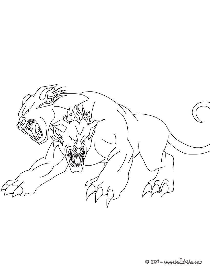 Kleurplaat orthros the 2 headed dog coloring page