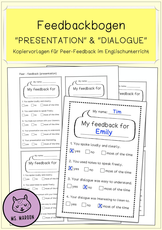 Feedbackbogen Presentation Dialogue Unterrichtsmaterial Im Fach Fachubergreifendes In 2020 Englischunterricht Unterrichtsmaterial Lernen