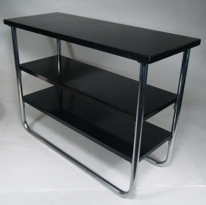 Vtg Art Deco Howell Chrome 3 Tier Side Table Black Lacquer Wolfgang Hoffmann Era Streamline Moderne Steel Furniture Black Side Table