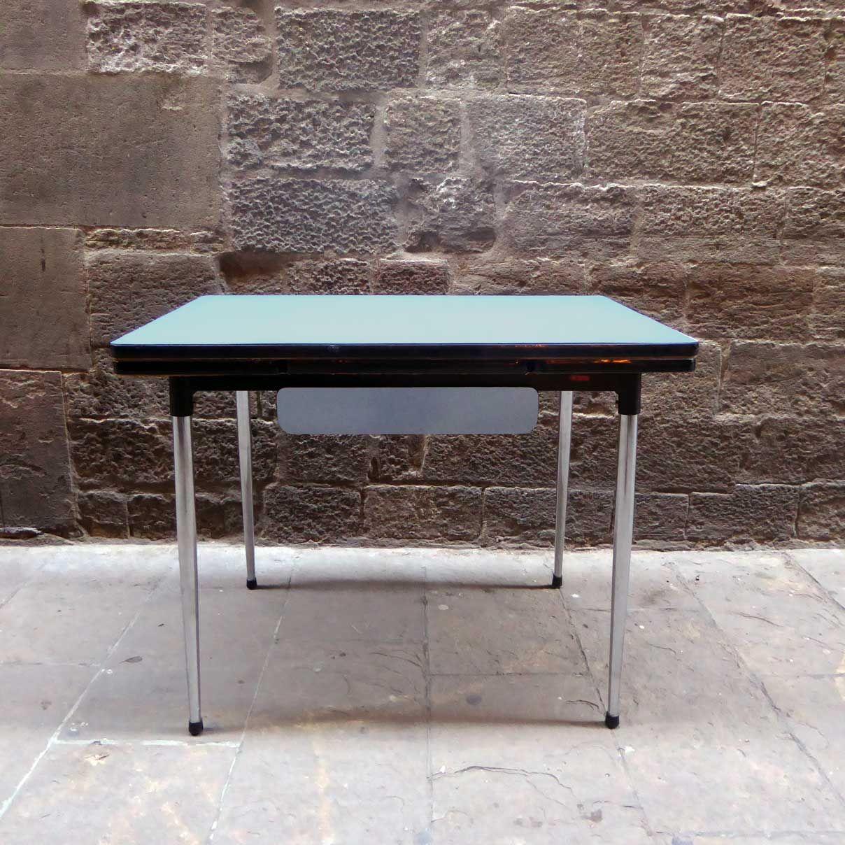 mesa cocina años sesenta vintage francés formica azul celeste ...