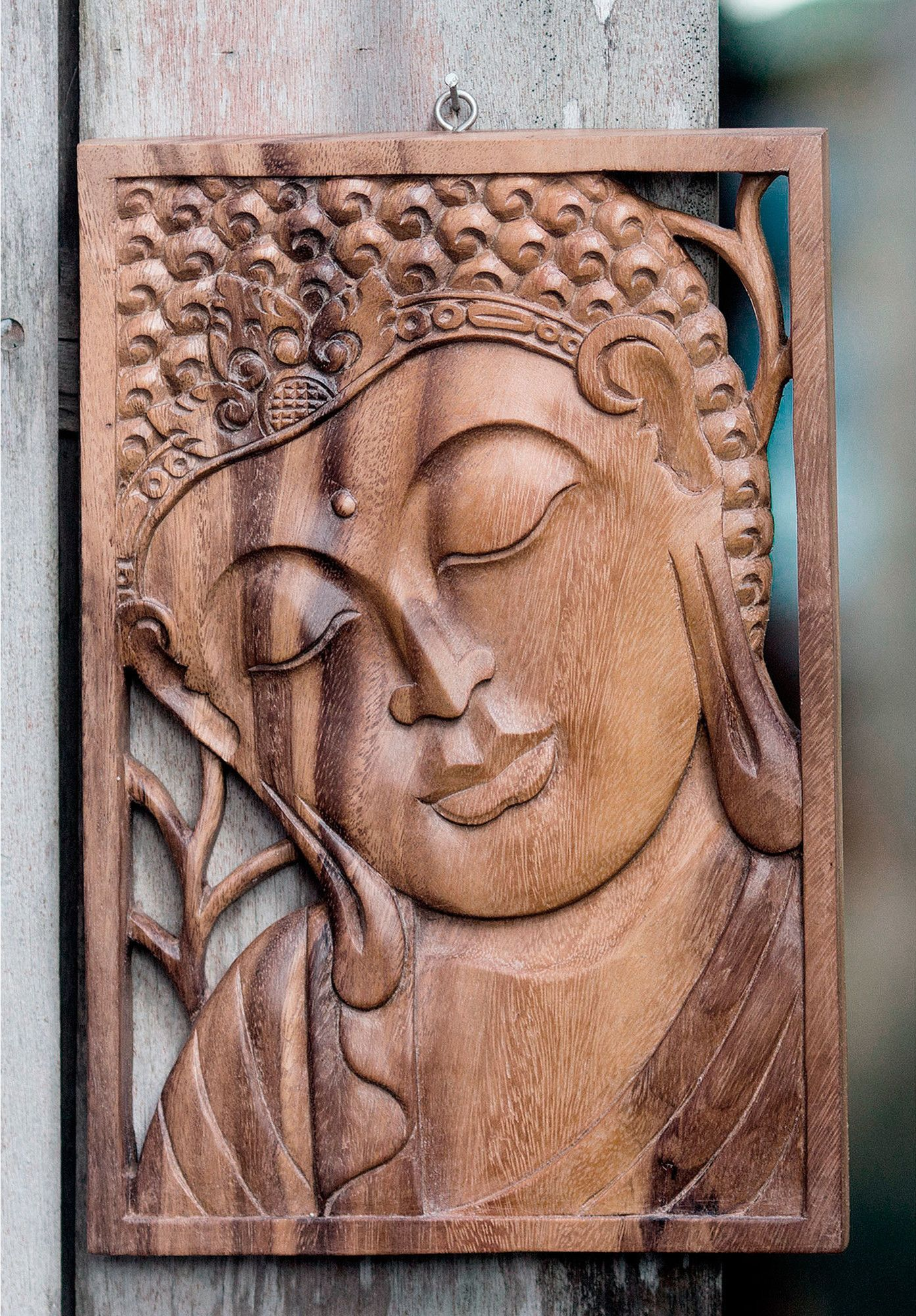 Young buddha wood relief panel wall décor