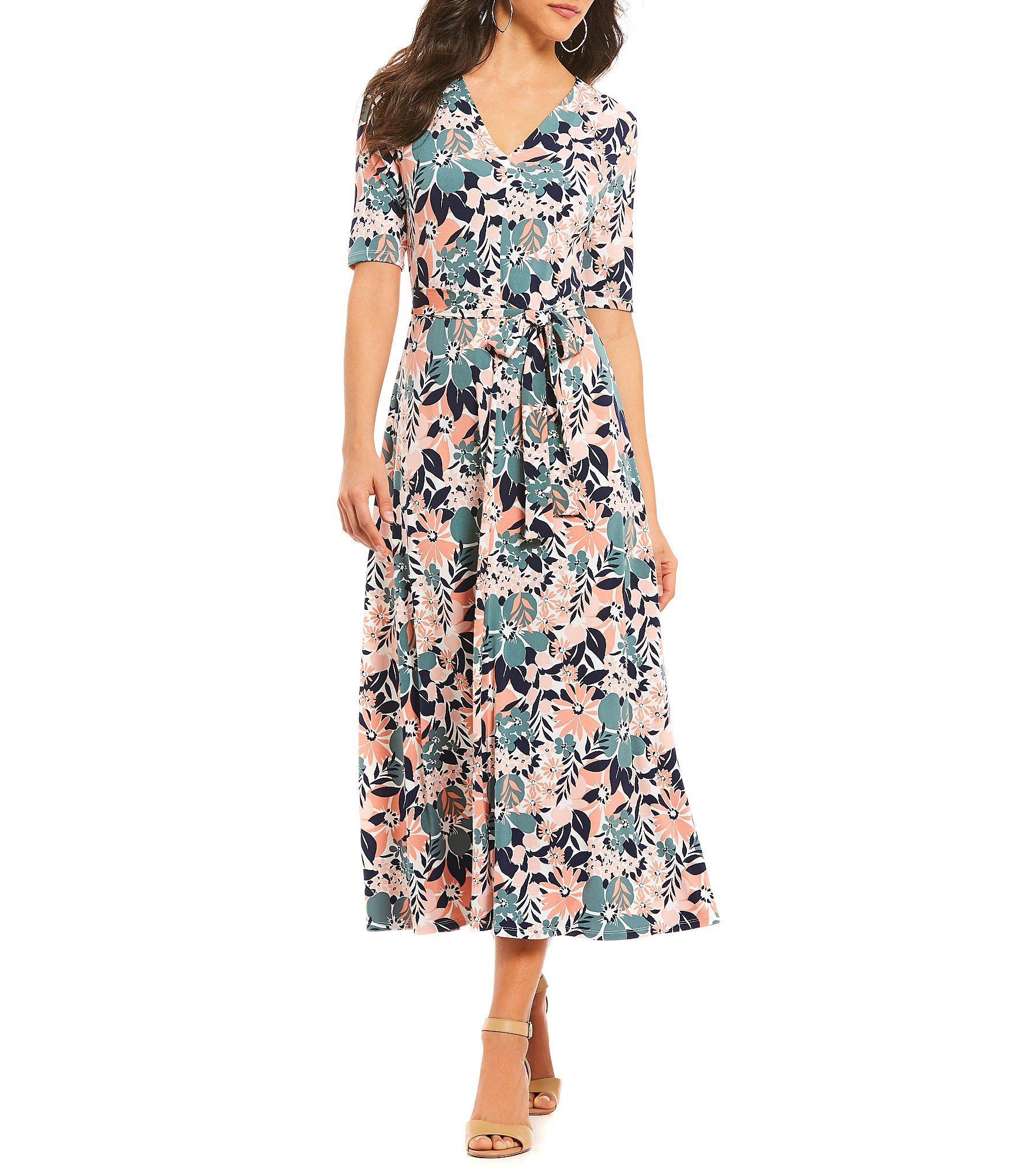 74dd051d994 Preston and York Sydney Tie Waist Floral Print Midi Dress  Dillards ...