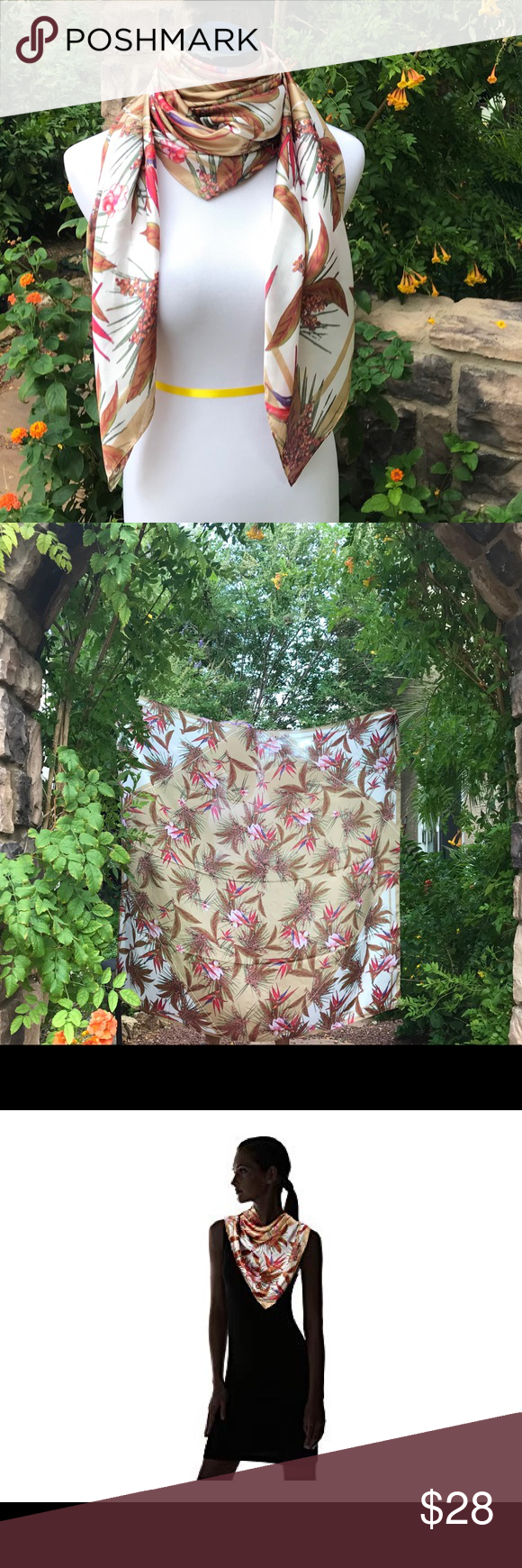 "Vince Camuto Tropic heat wave Scarf Beautiful earth tones tans and white with amazing birds of paradise.pinks, purples,red and goldish tan. Square Scarf features tropical Pattern OverSized. 48"" width 50"" length border stripe along edges"