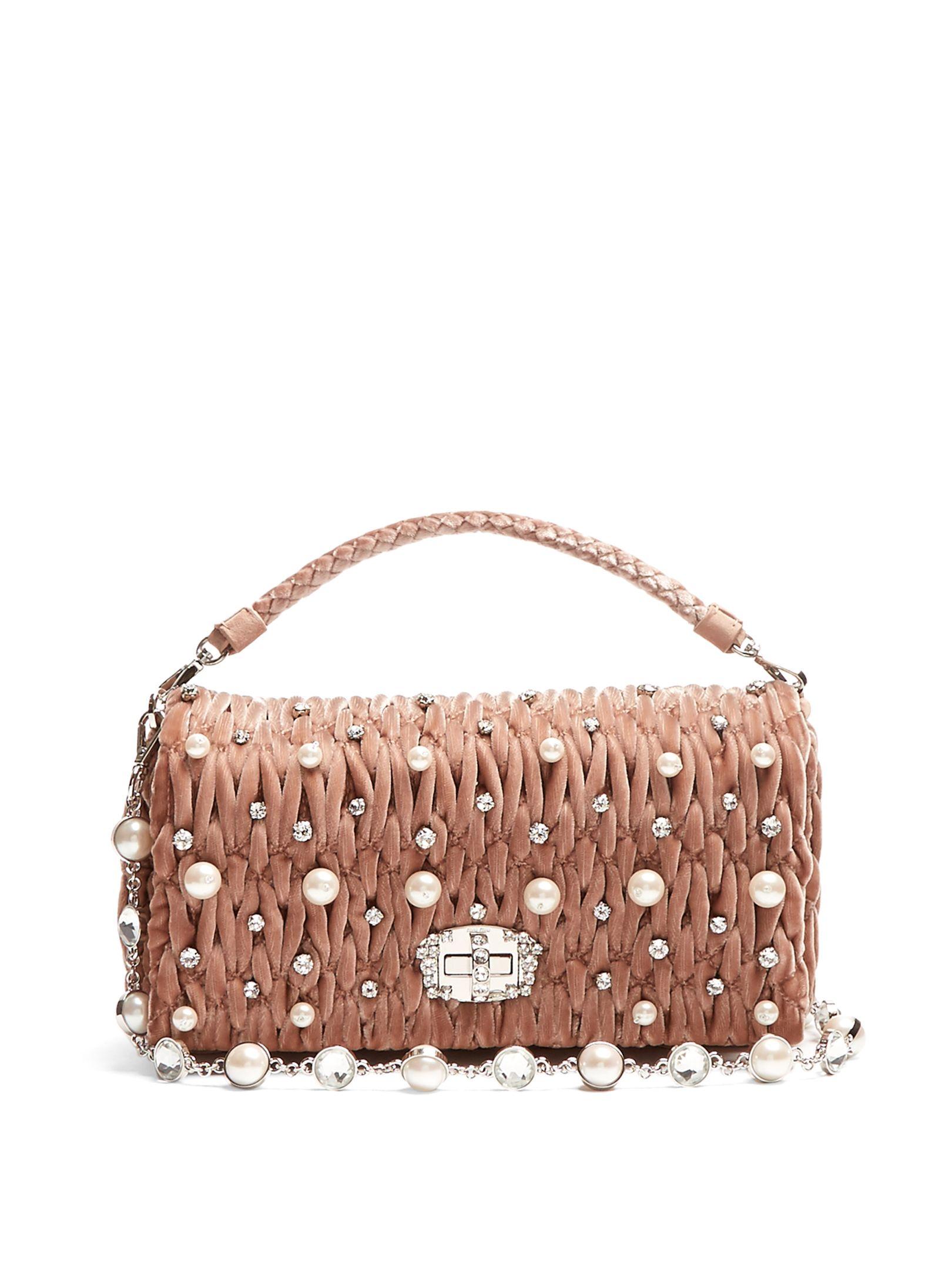 466a93e4467 Faux-pearl embellished velvet shoulder bag