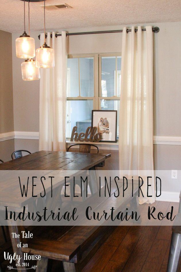 West Elm Inspired Industrial Curtain Rod Industrial Curtain Rod