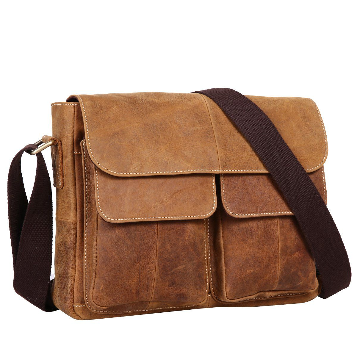 Leathario Classical Genuine Mens Leather Messenger Bag shoulder Satchel bag  CrossBody bag laptop briefcase 9ec6ba4a70e0b