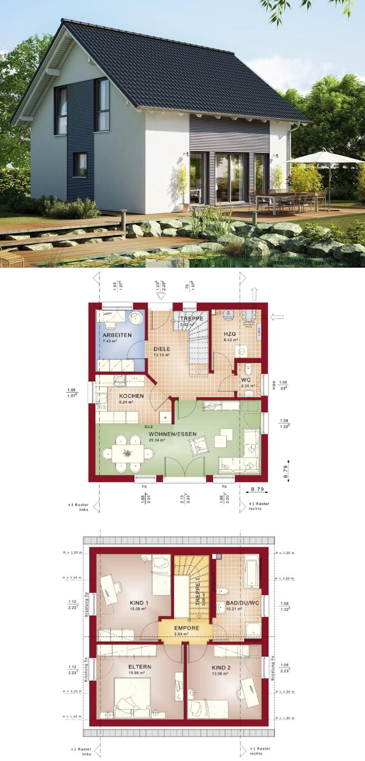 einfamilienhaus celebration 125 v1 bien zenker fertighaus bauen satteldach grundriss modern 5 zimmer offene - Fertighausplne