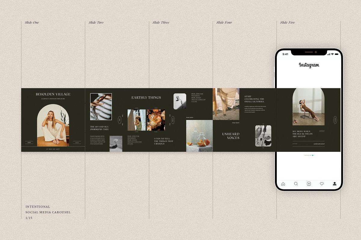 Ad Intentional Social Carousel Kit By Studio Standard On Creativemarket The Intentional Soc Social Media Design Instagram Template Design Instagram Template
