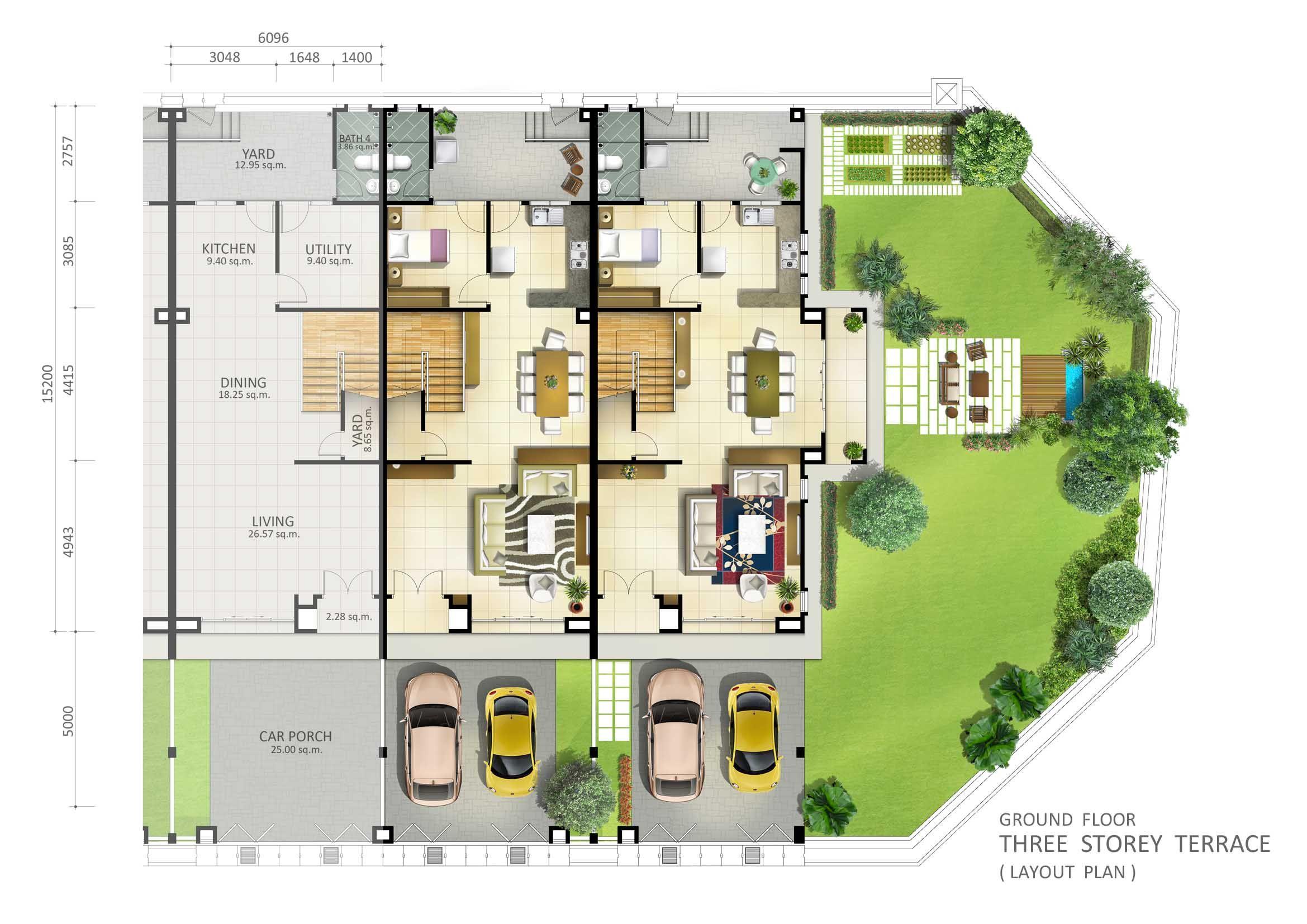 Marvelous 3 Storey Terrace Ground Floor Plan (2339×