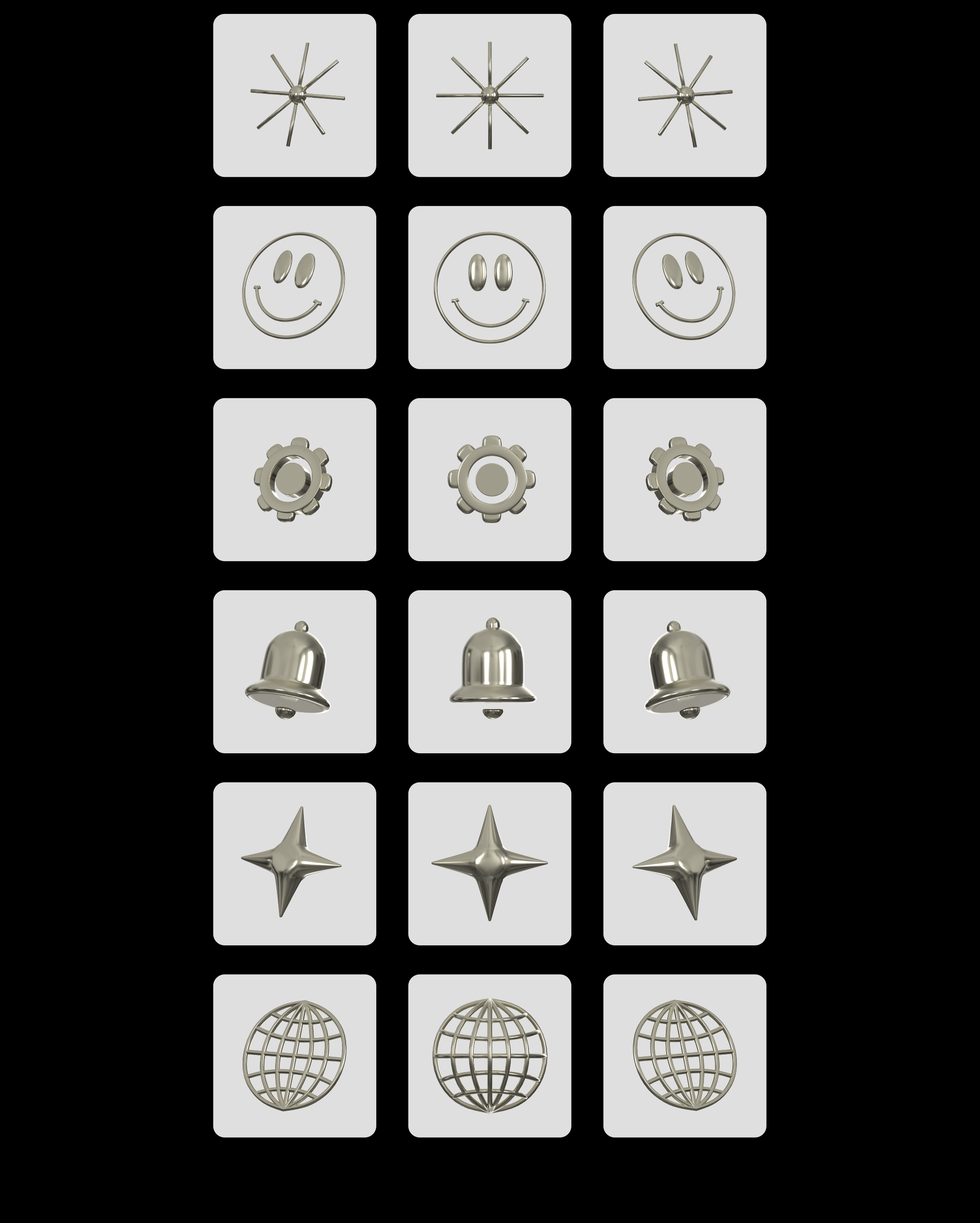 Metallic Icons 36 3D icons with metallic texture Paid,
