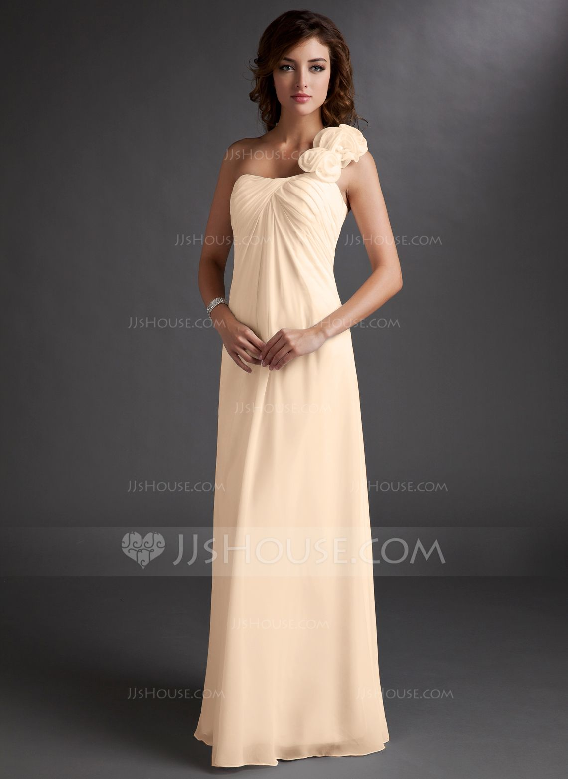 Empire oneshoulder floorlength chiffon bridesmaid dress with
