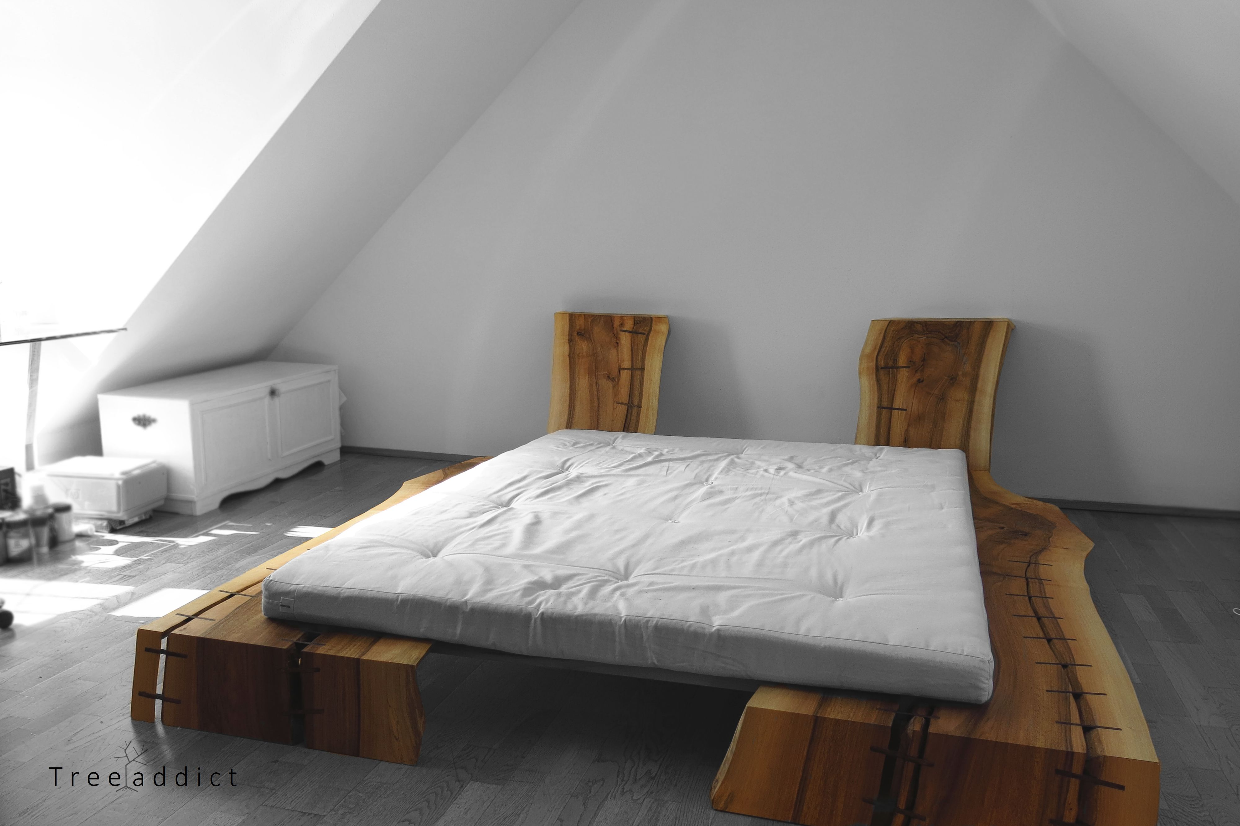 Big futon bed out of two large bookmatched walnut boards from a