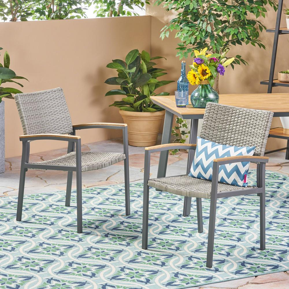 Noble House Legacy Gray Stationary Wicker Outdoor Dining