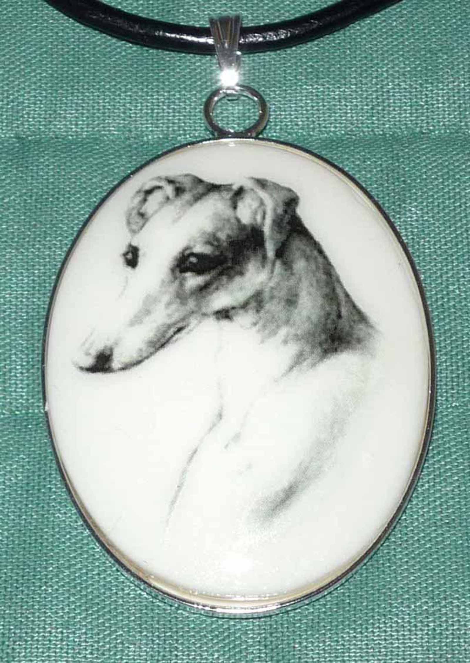 Hammered Bronze Collar Necklace with Running Greyhound or Whippet Dog