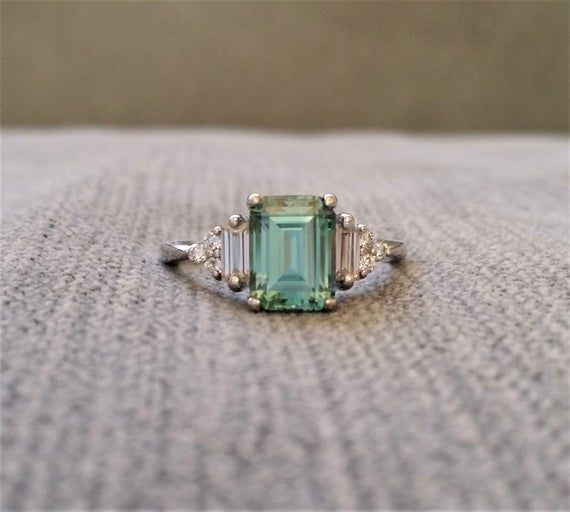 Antique Mint Green Moissanite Diamond Engagement Ring Emerald Cut Baguette Classic White Gold timeless PenelliBelle Exclusive