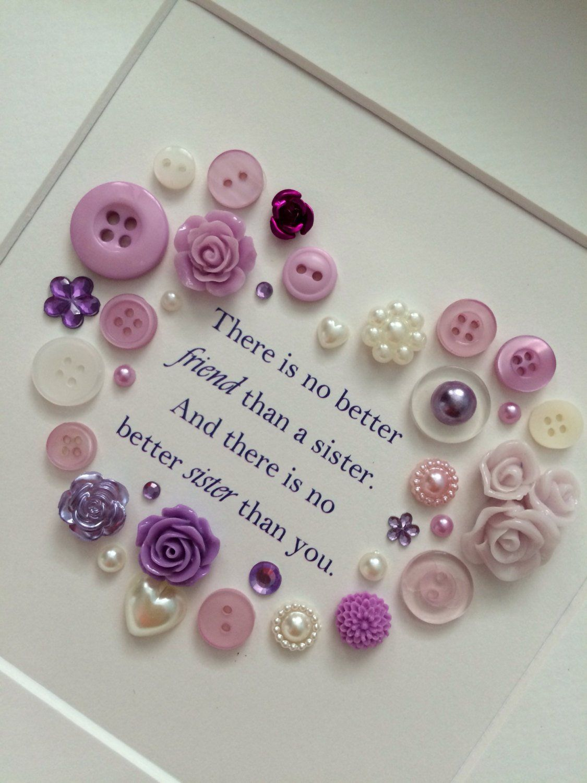 Button Art Christmas Gift Idea For Sister Birthday Gift For