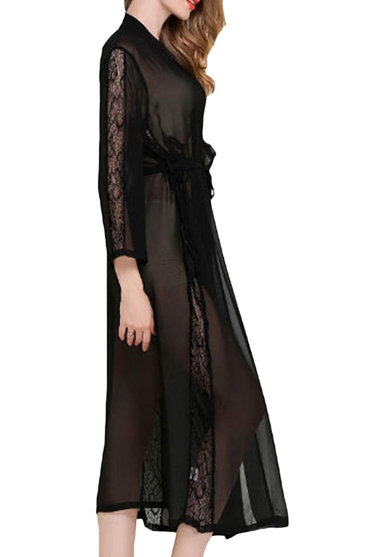 55d9ca1b09 Womens Sexy Sheer Bridal Sleepwear Lace Lingerie Long Kimono Robes ...