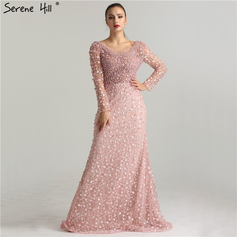 d055431a5b0 Luxury Evening Dresses 2019 Mermaid Long Sleeves Pearls Lace Embroidery  Pink Women Formal Party Gown Prom