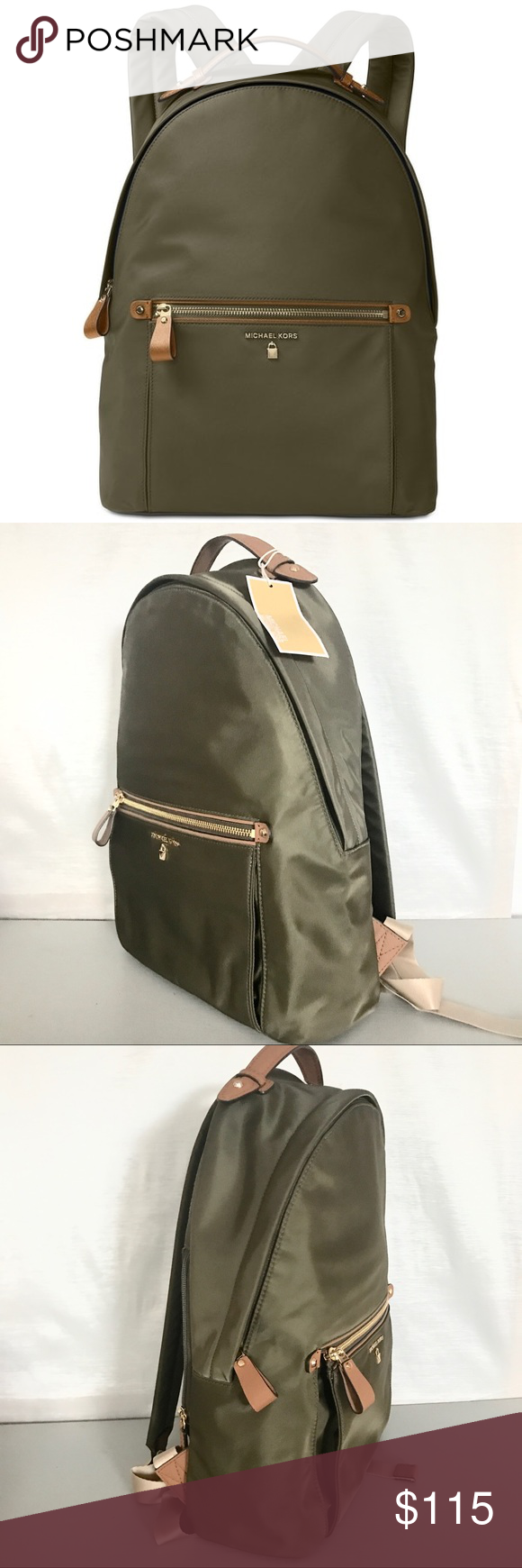 aa3b17d5761b New Authentic MK Kelsey backpack Olive Padded straps provide all-day carry  for a durable MICHAEL Michael Kors backpack finished with a flash of  hardware and ...