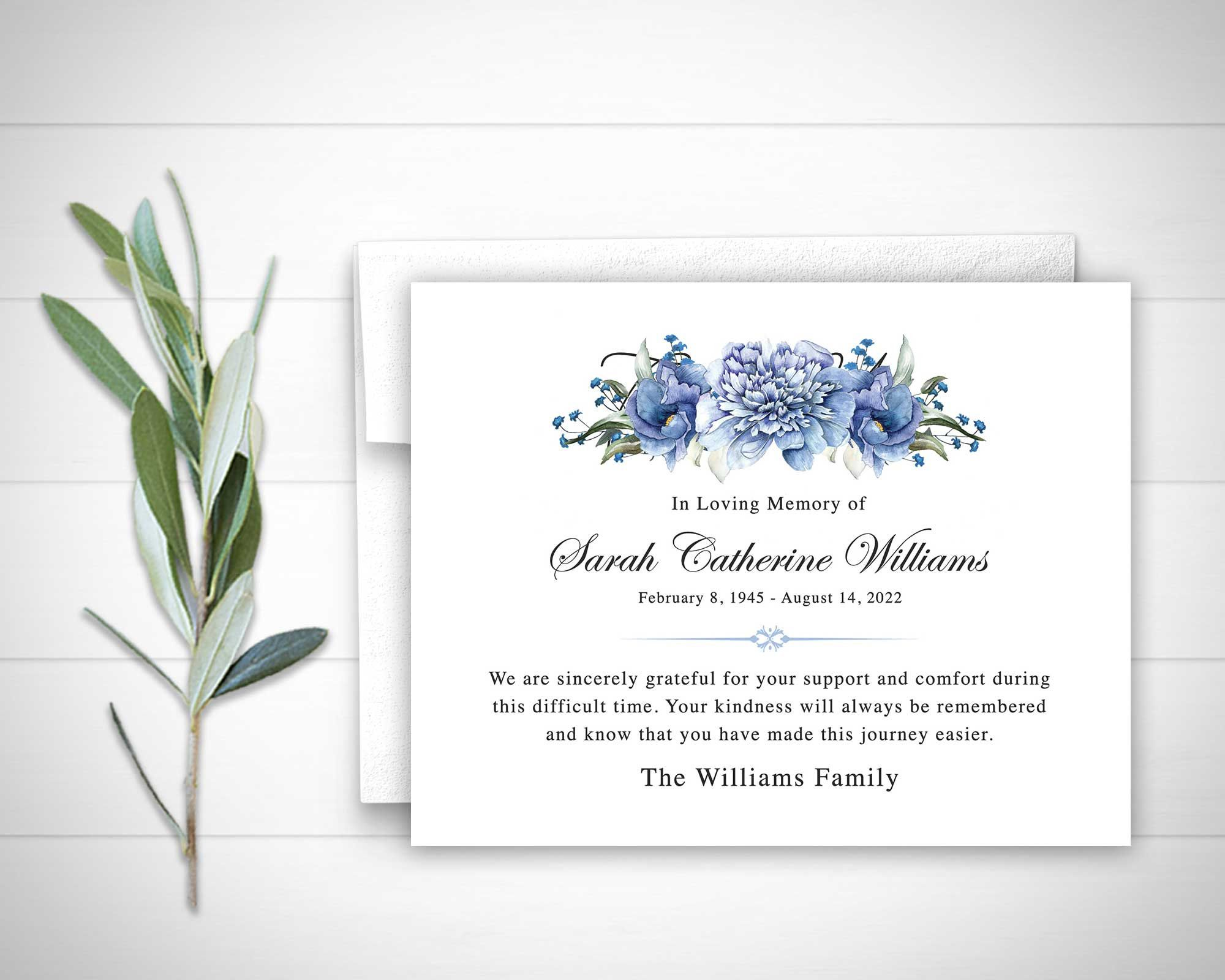 Funeral Thank You Cards Printable Funeral Thank You Notes Etsy Funeral Thank You Cards Sympathy Thank You Cards Funeral Thank You Notes