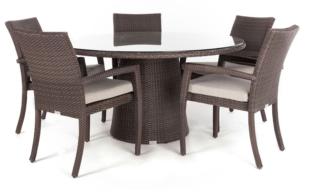 Delia Round Glass Top Outdoor Patio Dining Table For 4 To 8 People