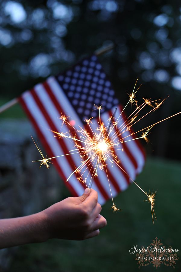 American Flag With Sparkler Patriotic 4th Of July Memorial Day