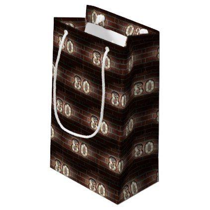 80th Birthday Marque Lights On Brick Small Gift Bag