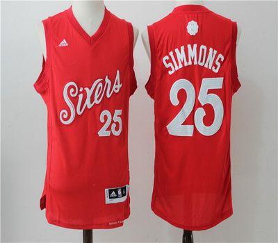 c6629bc8adb ... NBA Philadelphia 76ers 25 Ben Simmons Red 2016 2017 Christmas Xmas Day Basketball  Jersey ...