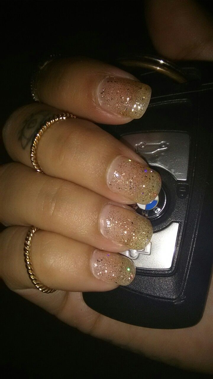 Simple glitter shellac nails