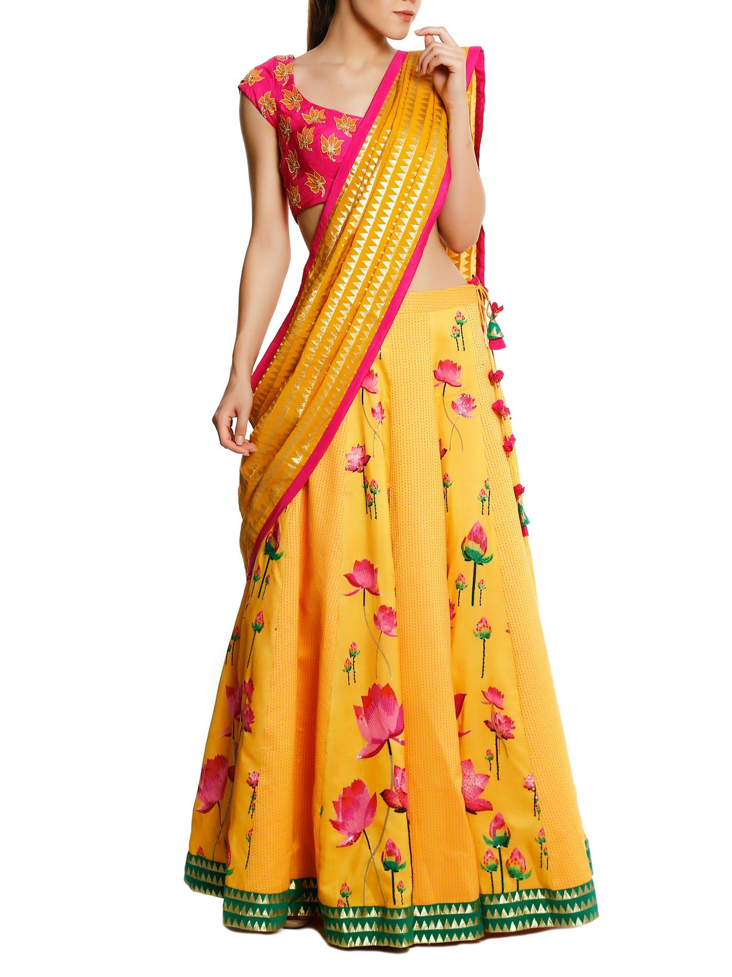db7e26738c Masaba Lehenga : Buy Masaba Yellow Lotus & Pink Scattered Polka Lehenga  With Triangle Zari Dupatta & Blouse Online | Nykaa Design Studio.