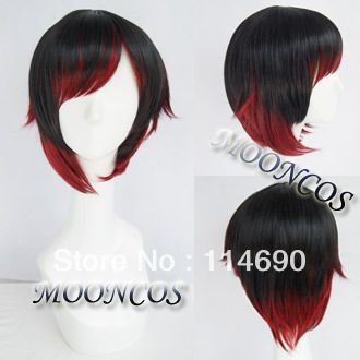[MOON COS] RWBY Red Trailer Ruby Rose Cosplay Wig Anime wig hair wig-