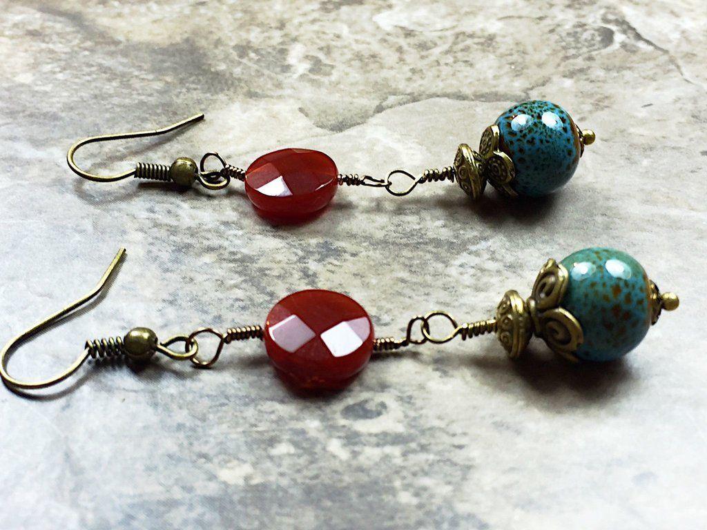 Carnelian Turquoise brass earrings