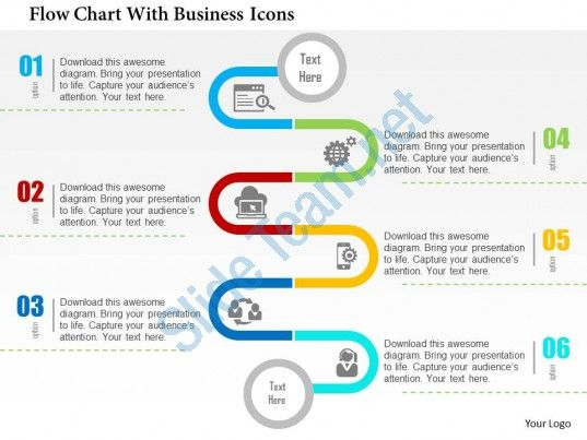Flow Chart With Business Icons Flat Powerpoint Design Slide