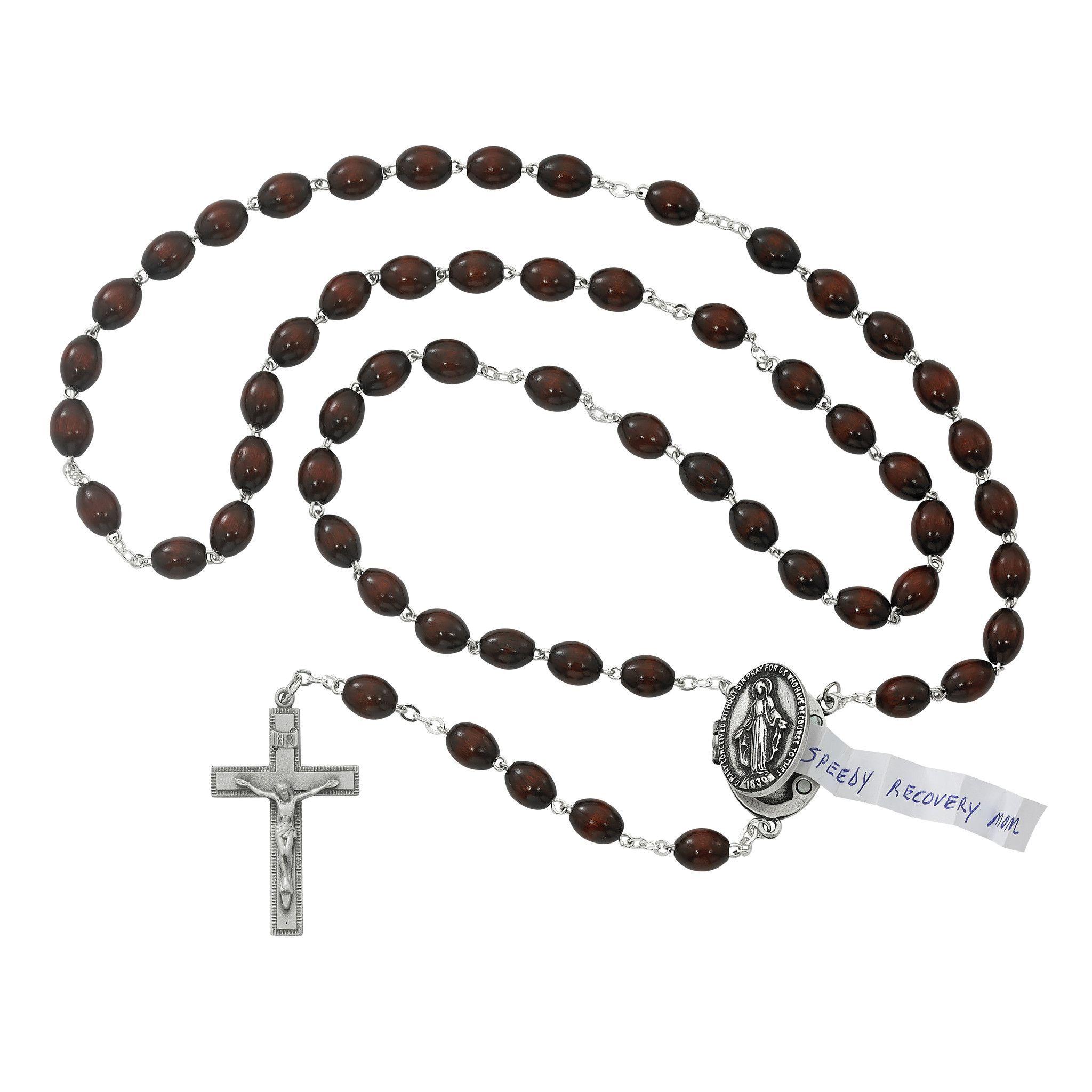 Brown Prayer Petition Locket Rosary Boxed